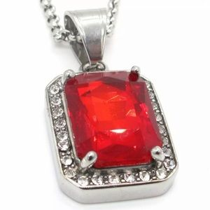 Unisex Ruby Necklace Pendant Chain 24""